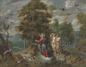 Boslandschap met Adam, Eva en God die hen de Boom van Kennis toont