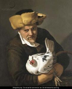 Portret van een man met bontmuts en kip