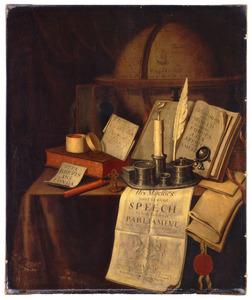 Stilleven met inktstel, lakstempel, globe en boeken en paperassen op een gedekte tafel