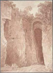 Ingang van de Grotta di Posillipo bij Napels