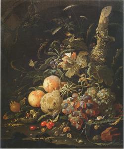 Stilleven van vruchten in een boslandschap