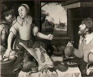 Een jongeman biedt een keukenmeid tijdens haar werk een dode vogel aan, terwijl een man aan tafel toekijkt; op de achtergrond een dorpsgezicht