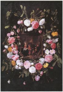 De Heilige familie omringd door rozen