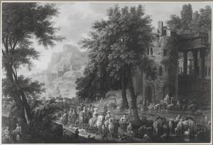 Landschap met een jachtgezelschap, reizigers en herders voor een ruïne