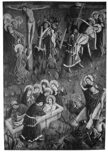 De kruisiging, de kruisafneming, de graflegging, de opstanding