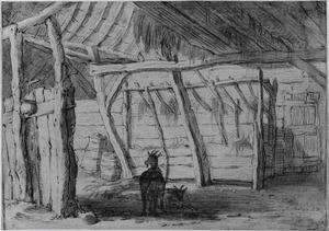Interieur van een schuur met twee geiten