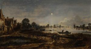 Gezicht op een dorp aan een rivier bij maanlicht