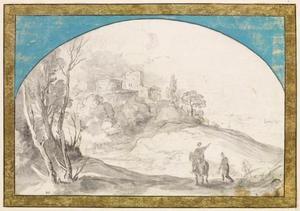 Landschap met twee monniken onderweg naar een kasteel