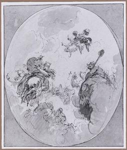 Bacchus en andere figuren op de wolken