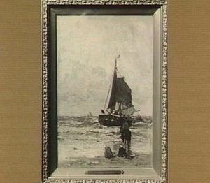 strandgezicht met een boot op zee