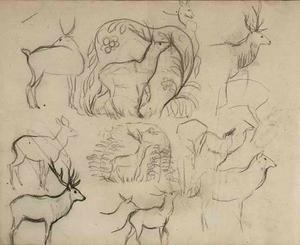 Schetsboekblad met schetsen van herten