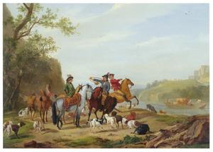 Rustende jagers met honden aan de oever van een rivier