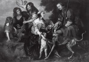 Groepsportret van vijf onbekende personen, met een putto