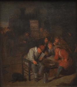 Interieur met een brieflezende man en een vrolijk gezleschap