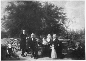 Portret van Nicolaas Jacobus Fabius (1744-1836) met zijn familie