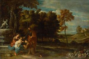 Landschap met de Heilige Familie en Antonius van Padua