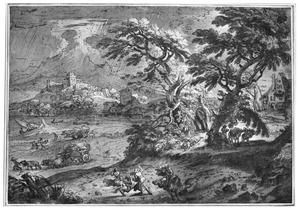 Landschap tijdens storm, met vluchtende figuren