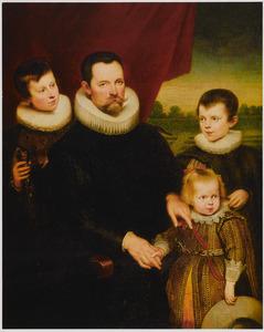 Portret van een onbekende man met drie kinderen