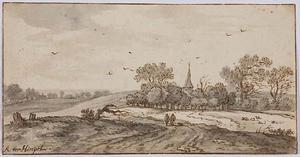 Landschap met groep bomen en een kerktoren