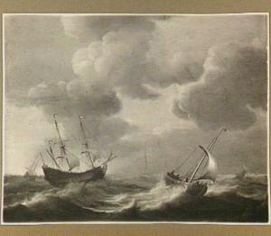 Schepen in storm op volle zee