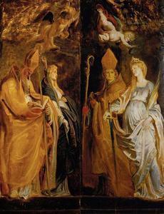 Heilige Amandus en  Walburga en de heilige Eligius en Catharina van Alexandrië