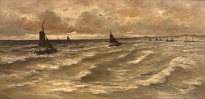 Schepen op zee met een duinkust op de achtergrond