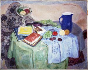 Stilleven met boeken en fruit