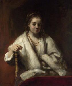 Halffiguur van een vrouw met een witte omslagdoek