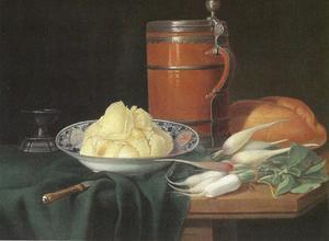 Stilleven met boter, radijzen en een kruik