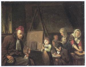 Een schilder met zijn familie in zijn werkplaats