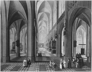 Interieur van de Onze Lieve Vrouwekathedraal van Antwerpen met doopprocessie