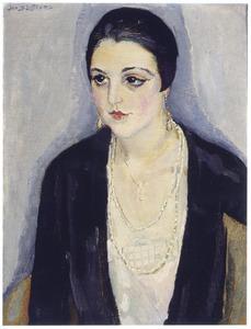 Portret van een dame met oorbellen en halsketting