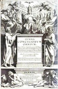 Titelpagina voor F. Longo A Coriolano, Summa Conciliorum Omnium, Antwerpen 1623