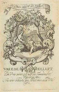 Allegorische voorstelling met amor en Vrede, in een cartouche