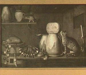 Stilleven met kat, etenswaren, vaatwerk en muis