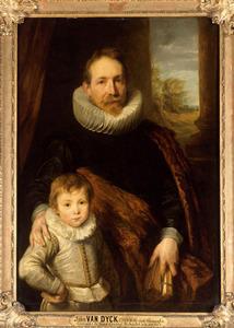 Portret van een man met zijn zoon, mogelijk Johannes Van de Wouwer (Woverius) (1576-1636)