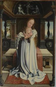 Maria met kind voor een altaar onder een tongewelf