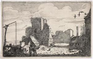 Voorterrein van kasteel Brederode met links de ruïne van de poort, in het midden de vervallen aanbouw van de poort en rechts achter de kasteelruïne (vanuit het zuiden, in spiegelbeeld)