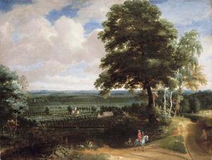 Landschap met een valkenjager, op de achtergrond een landhuis in een tuin