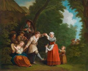 Dansend en musicerend gezelschap in een landschap