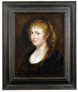 Portret van een jonge vrouw met gevlochten blond haar