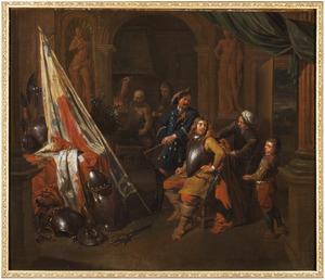 Wachtlokaal met een soldaat die zijn kuras aantrekt, Vulcanus op de achtergrond