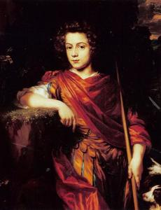 Portret van jongeman in klassieke kleding in landschap