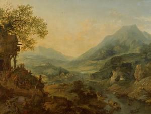 Uitgestrekt bergachtig rivierlandschap