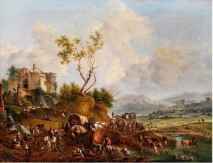 Zuidelijk  landschap met ruïne en talrijke figuren als staffage