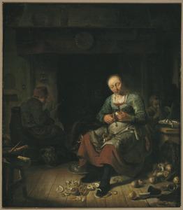 Interieur met vrouw die knollen schilt, een rokende man bij de haard en een kind
