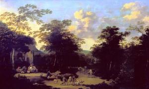 Boslandschap met pakezels en herders
