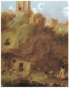 Landschap met ruïnes en herder