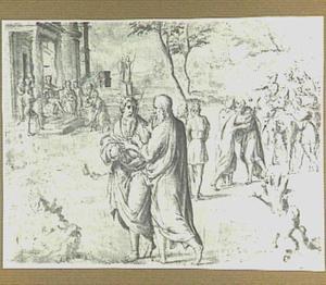 Mozes en Aaron;  links het wonder van de staf van Aaron (Exodus 7:10-13), rechts de begroetingskus van  Mozes na zijn terugkeer uit Egypte door  Aäron (Exodus 4:27)