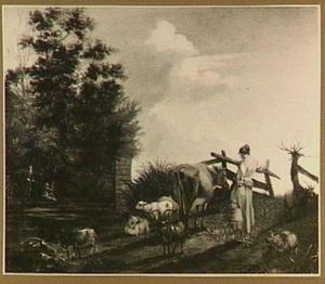Landschap met boerin en vee
